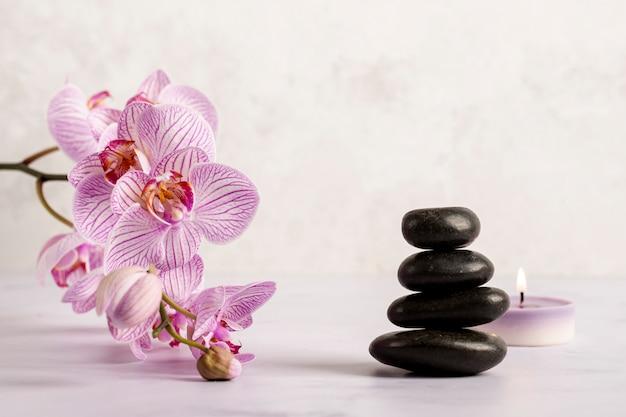 Bel arrangement avec des produits de spa Photo gratuit
