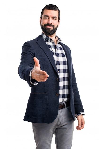 Bel homme faisant un accord Photo gratuit