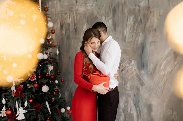 Bel homme et femme dans fantaisie ferme pose avant riche décoré arbre de noël et échange leur Photo gratuit