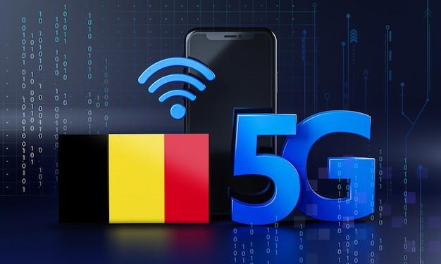La Belgique Est Prête Pour Le Concept De Connexion 5g. Fond De Technologie Smartphone De Rendu 3d Photo Premium