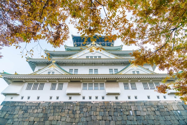 Belle architecture au château d'osaka Photo Premium