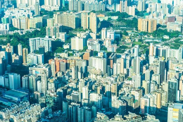 Belle architecture bâtiment cityscape extérieur des toits de la ville de hong kong Photo gratuit