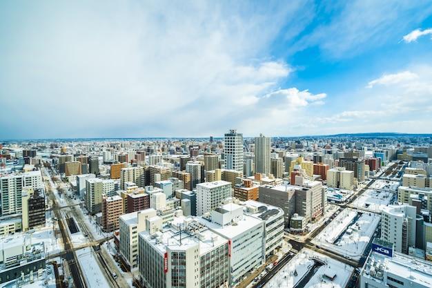 Belle Architecture Bâtiment Paysage Urbain De La Ville De Sapporo Photo gratuit