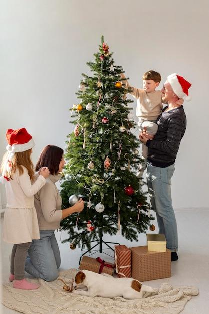 Belle Famille De Décoration De Sapin De Noël Photo Premium