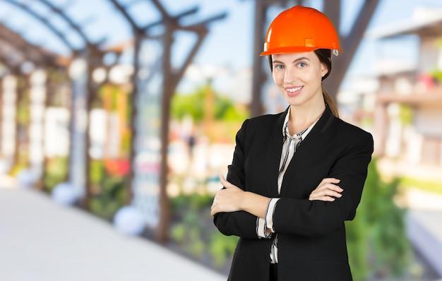 Belle femme ingénieur civil Photo Premium