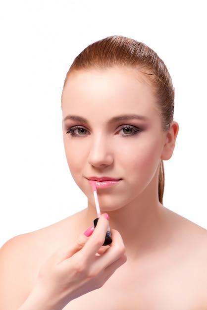Belle femme lors d'une séance de maquillage Photo Premium