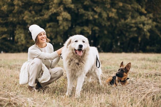 Belle femme promenant ses chiens dans un champ Photo gratuit