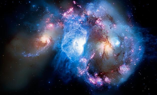 Belle galaxie dans l'espace, fond de science fiction Photo Premium