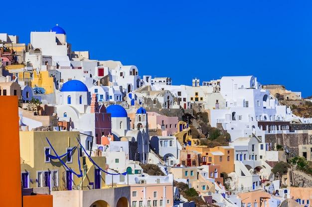 Belle Grèce Colorée - Incroyable Santorini.vue Du Village D'oia Photo Premium