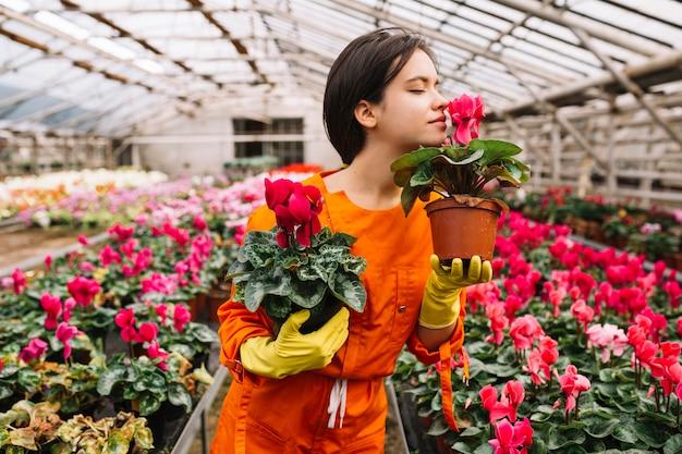 Belle jardinière femelle sentant les fleurs roses Photo gratuit