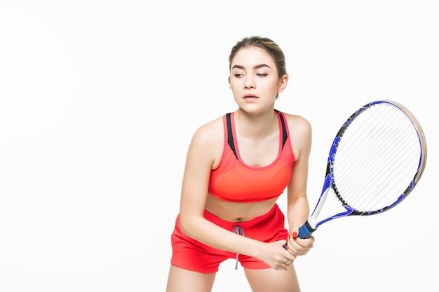 Belle Jeune Joueur De Tennis Femme Fitness Sport Faire Des Exercices Isoles Photo Premium
