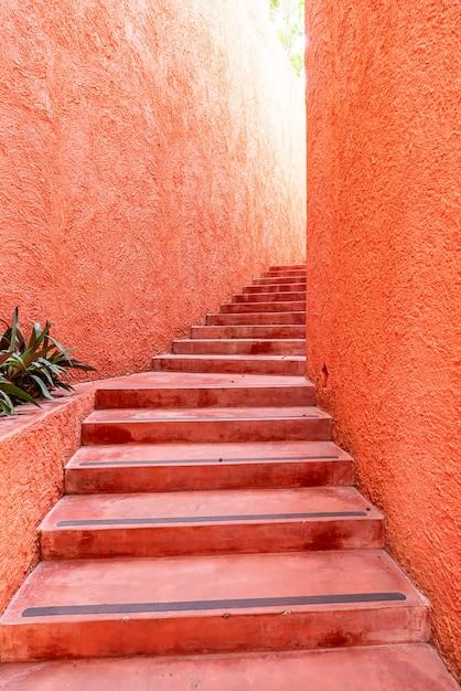 Belle Marche D'escalier Rose Et Orange Photo Premium