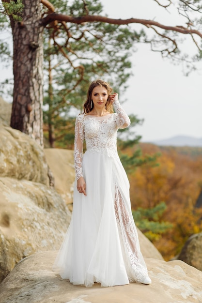 Belle Mariée En Robe Blanche Posant Photo gratuit