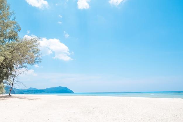 Belle plage de sable blanc avec une île en voyage de concept de l'heure d'été Photo Premium