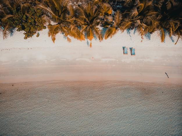 Belle plage tropicale et mer avec cocotier sur une île paradisiaque Photo gratuit