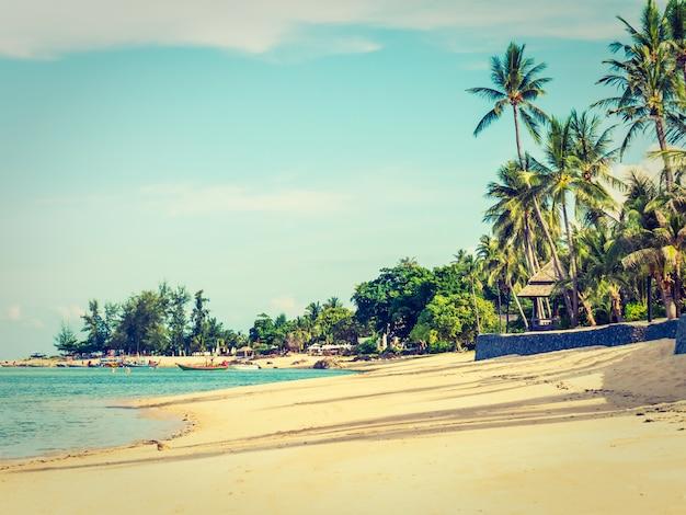 Belle plage tropicale et mer avec cocotier Photo gratuit