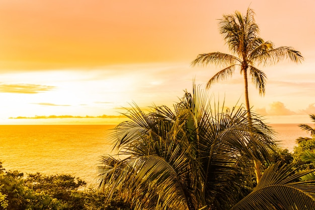 Belle plage tropicale en plein air mer autour de l'île de samui avec cocotier et autres au coucher du soleil Photo gratuit