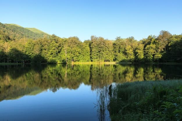 Belle Prise De Vue En Grand Angle Du Paysage Verdoyant Se Reflétant Dans Le Lac Gosh, Arménie Photo gratuit