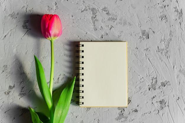 Belle Tulipe Rose Fraîchement Coupée Et Vide Vide Carnet De Notes Spyral Sur Table En Béton Gris Photo Premium