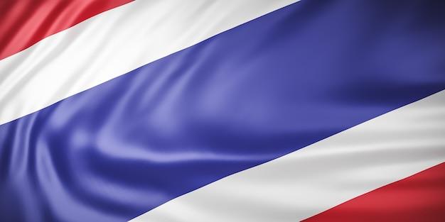 Belle Vague De Drapeau De La Thaïlande Se Bouchent Photo Premium