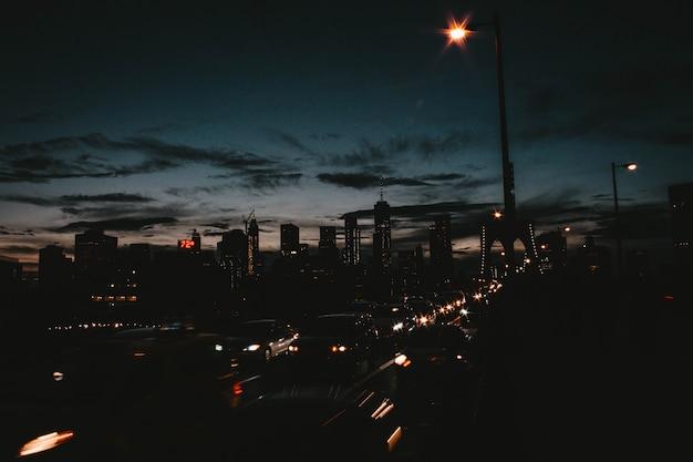 Belle Ville De Manhattan La Nuit Photo gratuit