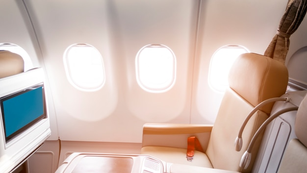 Belle vue de la classe affaires de l'avion Photo Premium