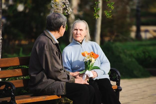 Belles vieilles personnes heureuses assis dans le parc en automne Photo Premium