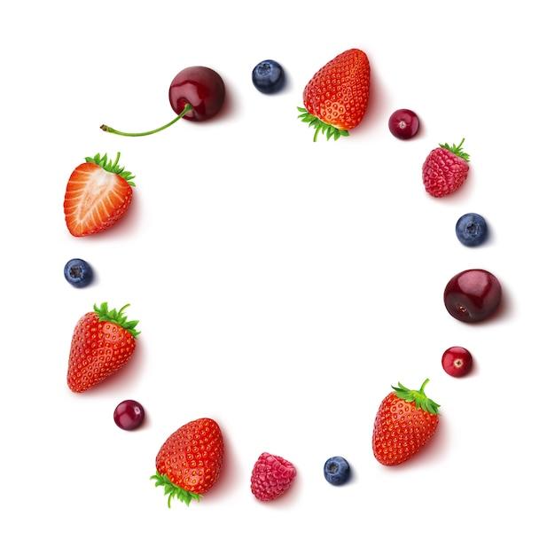 Berry isolé sur blanc en vue de dessus dans un cadre rond de différentes baies Photo Premium