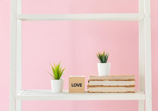 Bibliothèque blanche avec des livres et des plantes contre le mur rose Photo Premium