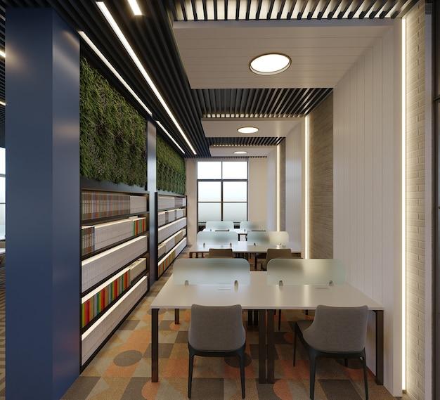 Bibliothèque Moderne Avec Design De Plafond Et Mobilier, Rendu 3d Photo Premium