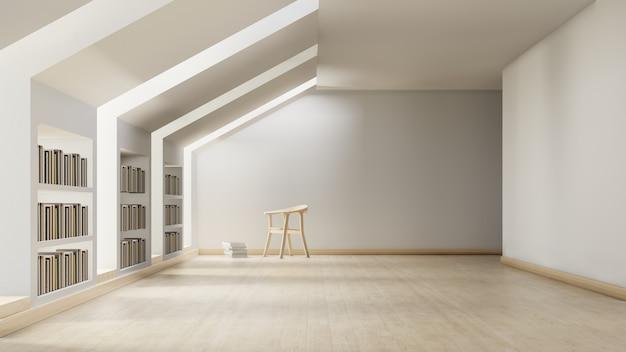 Bibliothèque moderne avec zone d'étude individuelle avec chaise. Photo Premium