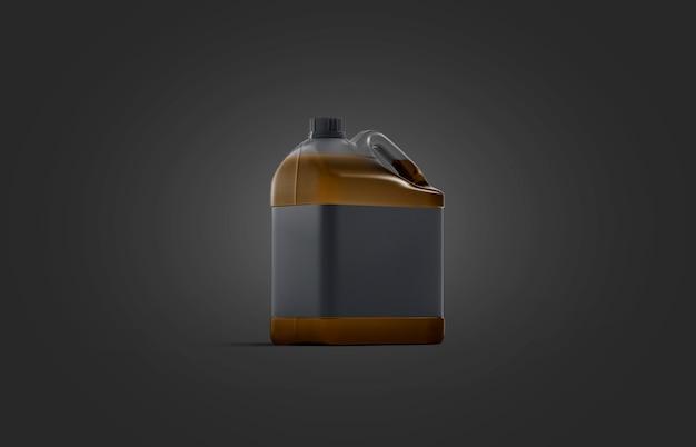 Bidon En Plastique Transparent Vierge Avec Maquette D'huile Sur Fond Noir Photo Premium