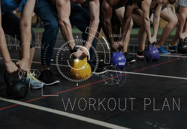 Bien-être santé lifestyle workout graphic word Photo gratuit