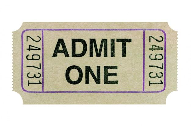 Billet d'admission gris isolé sur fond blanc. Photo gratuit