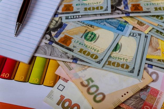 Billets en argent: usd et uah. hryvnia ukrainien et échange en dollars américains. devise Photo Premium