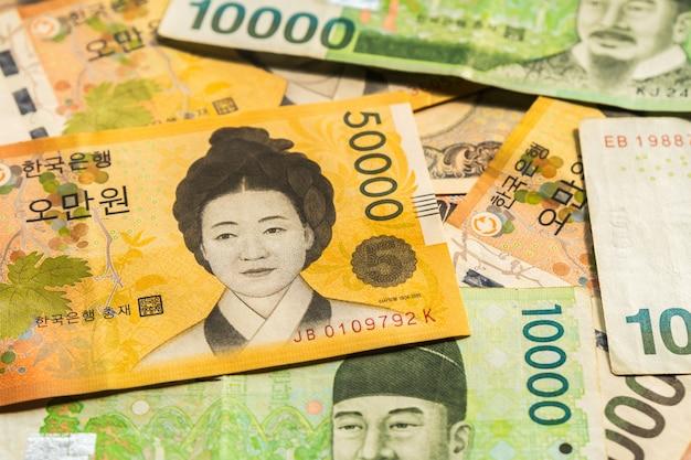 Billets de banque coréens Photo Premium