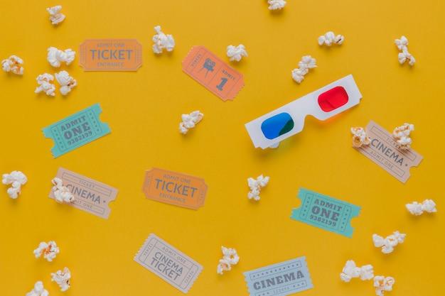 Billets De Cinéma Avec Pop-corn Et Lunettes 3d Photo gratuit