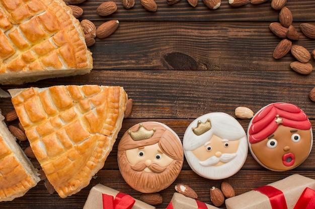 Biscuits Dessert épiphanie Et Espace De Copie De Tarte Photo gratuit