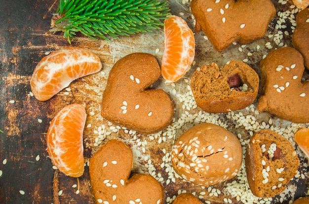 Biscuits de noël aux mandarines Photo Premium