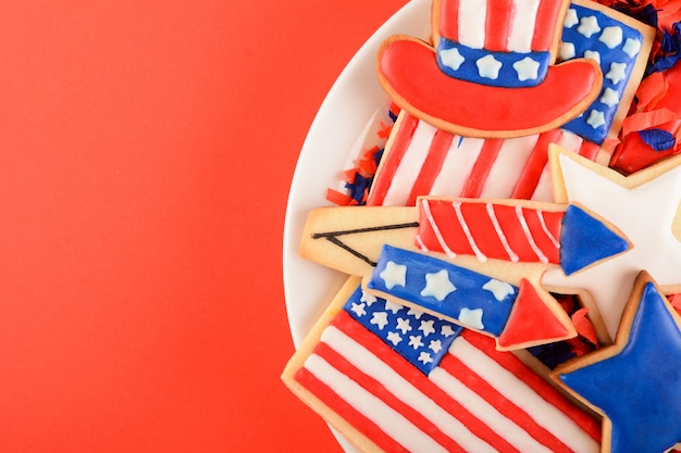 Biscuits patriotiques pour le 4 juillet. Photo Premium