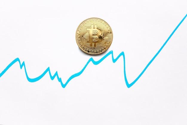 Bitcoin Cryptocurrency Graphique De Croissance Des Pièces De Bitcoin Sur Le Graphique D'échange Photo Premium