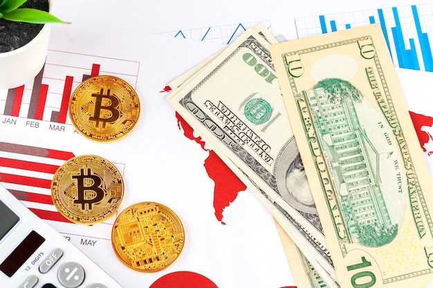 Bitcoin, graphique et dollar américain. trading financier Photo Premium