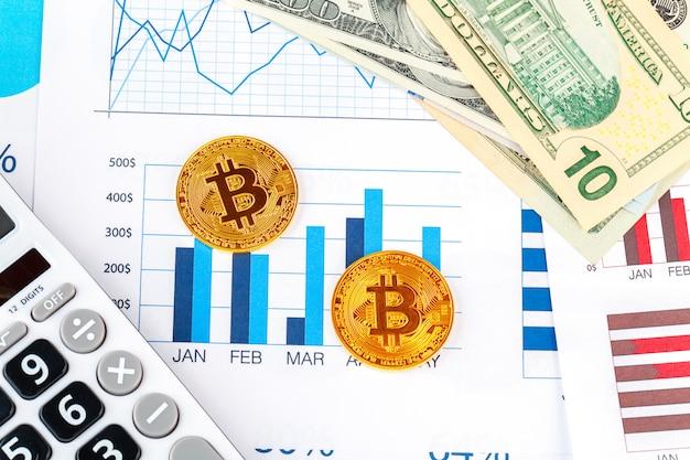 Bitcoin, graphique et dollar américain. trading financier Photo Premium