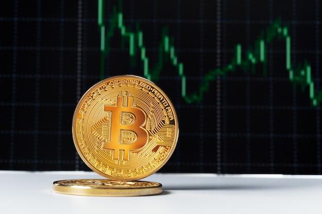 Bitcoin et graphique Photo Premium