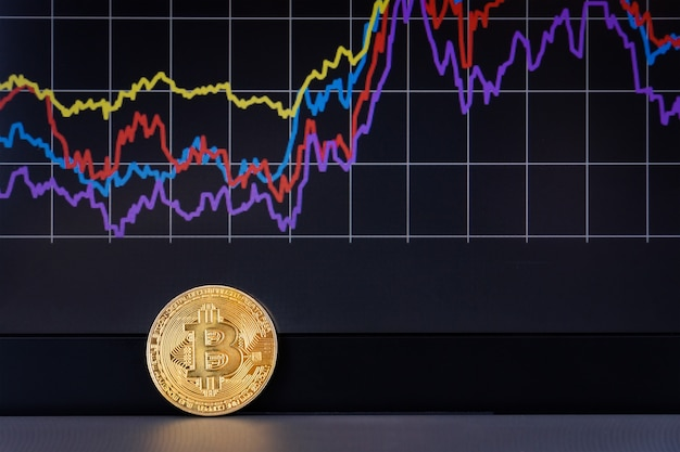 Bitcoin laptop chart Photo Premium