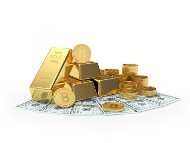 Bitcoin Avec Des Lingots D'or Et Des Pièces Sur Des Billets D'un Dollar Photo Premium