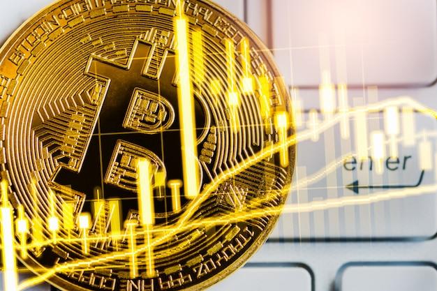 Bitcoin moyen d'échange moderne. commerce virtuel de monnaie numérique et d'investissement financier. Photo Premium