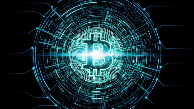 Bitcoin Rougeoyant Moderne Futuriste (btc) E Photo Premium