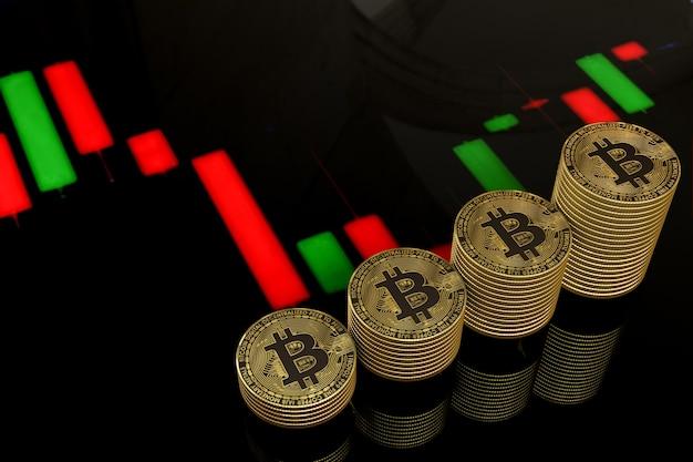 Bitcoins Dorés Avec Barres Colorées Photo Premium