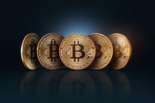 Bitcoins. monnaie électronique, crypto-monnaie. Photo Premium